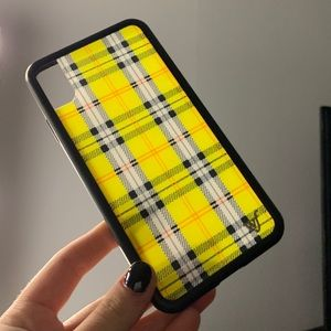 yellow plaid wildflower iphone xs max case
